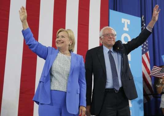 « Je soutiens Hillary Clinton. Et je ferai tout ce que je peux pour être sûr qu'elle sera la prochaine présidente des Etats-Unis », a déclaré Bernie Sanders, à Portsmouth, le 12 juillet 2016.
