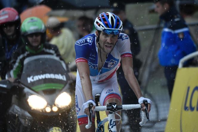 Thibaut Pinot, le 10 juillet, à l'arrivée de la 9e étape, en Andorre.