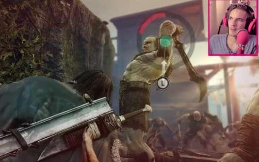 Le youtubeur PewDiePie dans sa vidéo du jeu,« La Terre du milieu», pour lequel il a été rémunéré par la Warner Bros.
