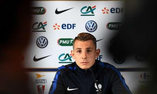 Lucas Digne en conférence de presse, le 13 juillet.
