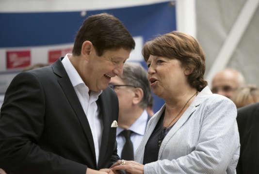 Patrick Kanner, ministre de la ville et des sports, et Martine Aubry, maire (PS) de Lille, en septembre 2014, à Lille.