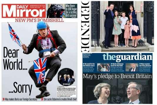 Les« une» britannique du jeudi 14 juillet :«Daily Mirror», «The Independant» et «The Guardian».