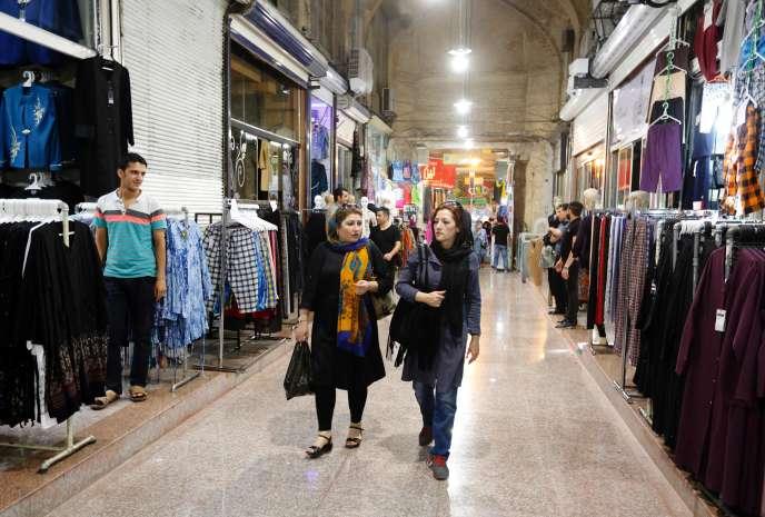 Dans une allée du Grand Bazar de Téhéran, le 11 juillet 2016.