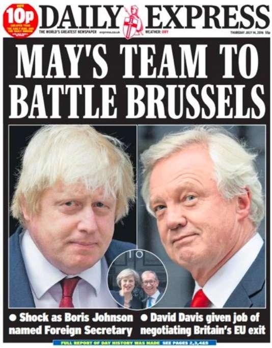 La« une» du quotidien britannique The Daily Express le 14 juillet.