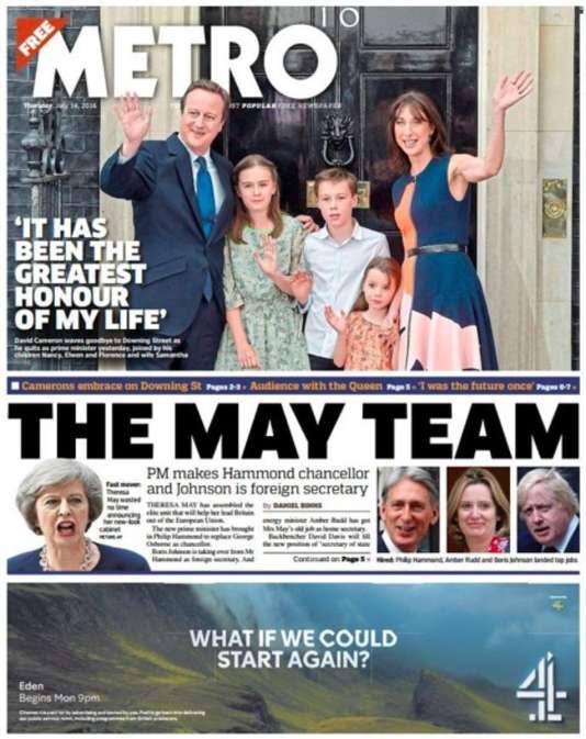 Le «une» du quotidien britannique «Metro» le 14 juillet.