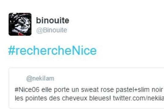 Capture d'un tweet #RechercheNice