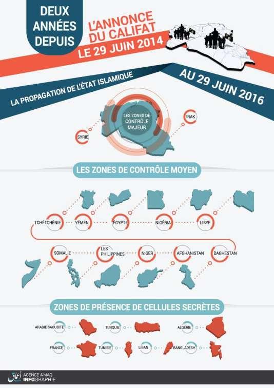 L'infographie de l'organisation Etat islamique pour ses deux ans.