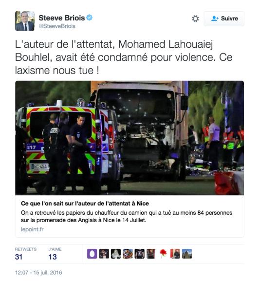 Le tweet du député européen FN et maire d'Hénin-BeaumontSteeve Briois.