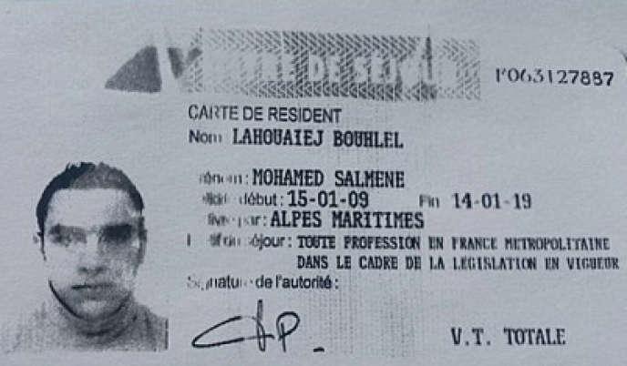 Carte de séjour de Mohamed Lahouaiej Bouhlel.