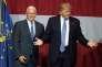 Mike Pence etDonald Trump durant un meeting de campagne à Westfield ( Indiana) le 12 juillet 2016.