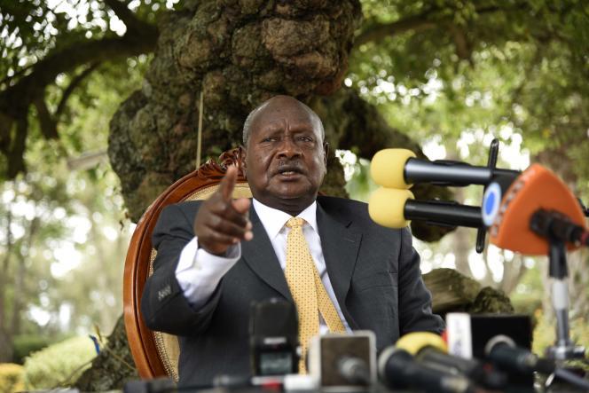 Le président ougandais Yoweri Museveni, au pouvoir depuis trois décennies, durant une conférence de presse à Rwakitura, le 21 février 2016.