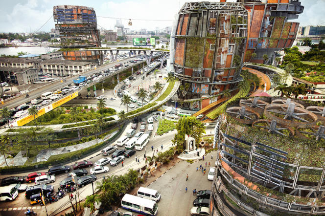 Montage photographique de l'architecte Olalekan Jeyifous élaboré à partir de clichés des bidonvilles de Lagos et de tours imaginaires.