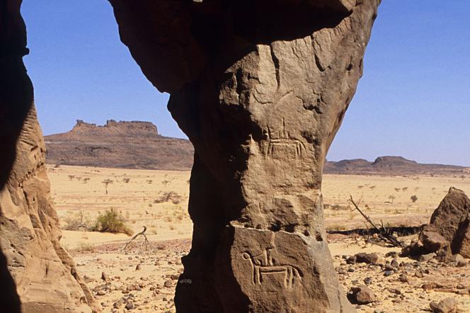 Gravures rupestres dans le massif désertique d'Ennedi, au Tchad.