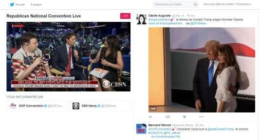 A côté de la traditionnelle timeline, une fenêtre diffuse le programme de la chaîne de télévision CBSNews.