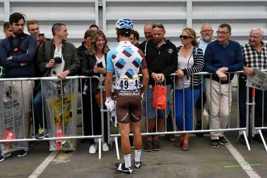 Alexis Vuillermoz, au départ de la 3e étape, lundi 4 juillet, à Granville (Manche).