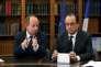 Le ministre de la justice Jean-Jacques Urvoas et le President Francois Hollande au ministère de la justice le 18 juillet2016.