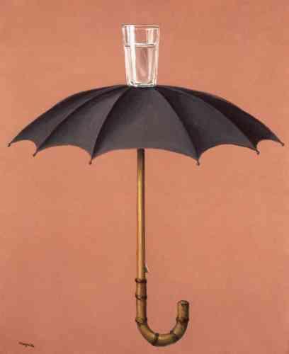 """«La plupart des """"problèmes"""" que Magritte s'emploie à résoudre à partir de 1936 répondent au principe """"dialectique"""" et à son système d'opposition et de réconciliation. Ayant renoncé à la beauté surréaliste née de la rencontre fortuite d'un parapluie et d'une machine à coudre, Magritte recherche le partenaire """"dialectique"""" de chaque objet. Au parapluie, qui repousse l'eau, est logiquement associé l'objet qui l'accepte et la reçoit: le verre.»"""