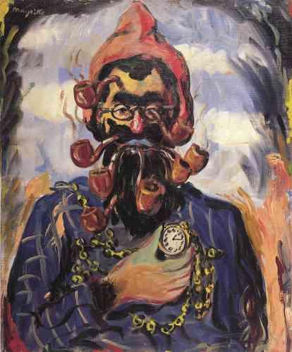 """«En 1948, la galerie du Faubourg à Paris présente des œuvres récentes de Magritte dans un tout nouveau style dit """"vache"""". """"Le Stropiat"""" est le messager de la truculence et du mauvais esprit que Magritte partage avec ses complices belges, la tarte à la crème qu'ils jettent joyeusementà la face du bon goût français.»"""