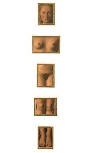 """«Le corps de Georgette Berger, l'épouse de Magritte, qui n'aura cessé d'être son principal modèle, est ici démantelé. Converti au surréalisme, Magritte donne un tour aimable autant qu'ironique au récit relaté par Pline de l'""""assemblage"""" par Zeuxis d'une beauté idéale, d'une composition de fragments d'anatomies singulières.»"""