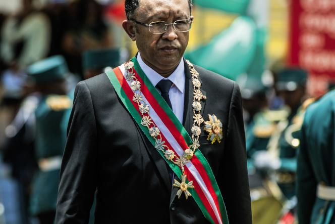 Le président malgache, Hery Rajaonarimampianina, lors de son investiture, en 2014.