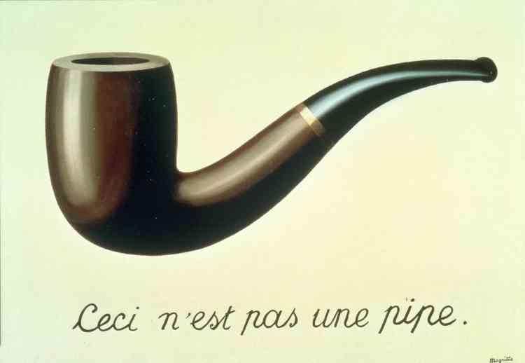 """«En 1929, désireux d'affirmer l'égalité entre la peinture et la poésie, René Magritte déclare que """"la poésie est une pipe"""". André Breton et Paul Eluard s'enchantent eux-mêmes de cette formule. Cette même année, avec """"La Trahison des images"""", il affirme avec ironie que """"ceci, la peinture, n'est pas une pipe, du pipeau, mais qu'elle peut prétendre au même sérieux que les vers de ses camarades"""".»"""