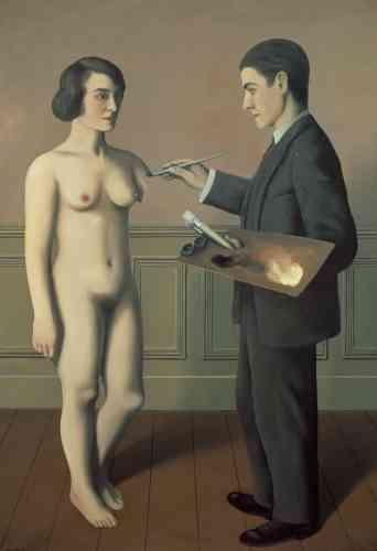 «Donnant un tour neuf au récit de Pline l'Ancien comme à celui de Pygmalion et Galatée, Magritte se représente occupé à dépeindre ex nihilo une Georgette encore inachevée. Par ce stratagème, il prévient le spectateur du piège de l'illusionnisme et tourne en dérision un académisme qui a voulu faire de la peinture le miroir de la réalité.»