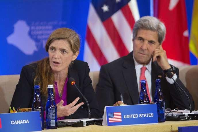 L'ambassadrice américaine à l'ONU, Samantha Power, et le secrétaire d'Etat américain, John Kerry, le 20 juillet.