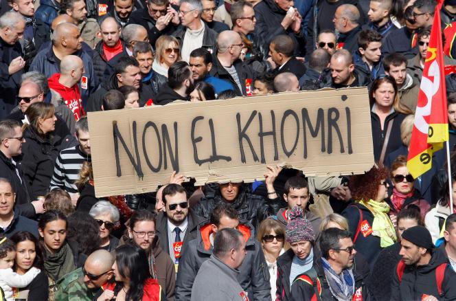 Lors d'une manifestation contre la loi travail, le 9 mars.
