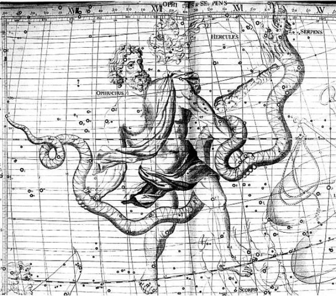 La constellation du Serpentaire, dans une illustration du XVIIIesiècle.