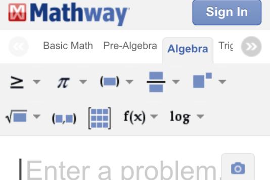 Capture d'écran Mathway