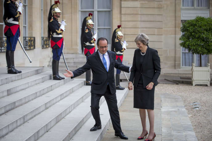 François Hollande accueille Theresa May au Palais de l'Elysée, jeudi 21 juillet 2016 - 2016©Jean-Claude Coutausse / french-politics pour Le Monde