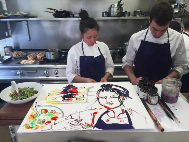 Le dessinateur Patrick Pleutin a croqué Tatiana Lehva dans les cuisines du Servan.