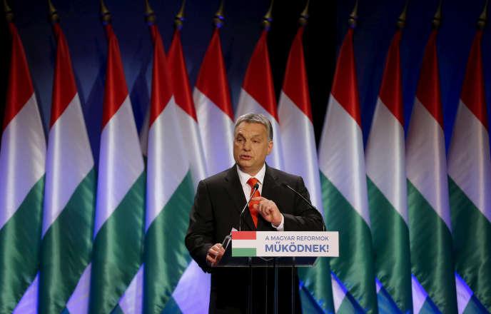 Le premier ministre hongrois, Viktor Orban, lors de son discours sur l'état de la nation, à Budapest, le 28 février.