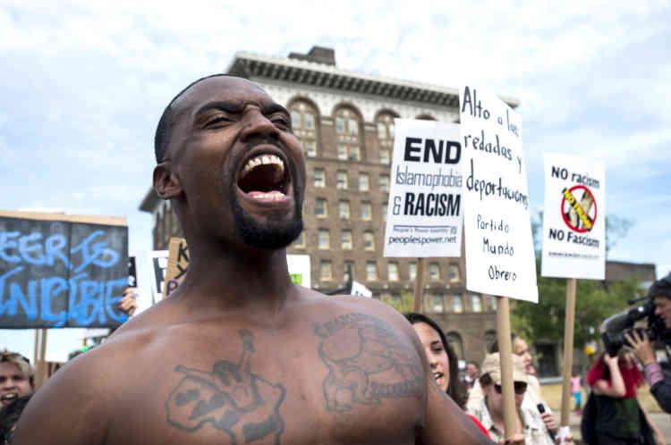 Un rassemblement de manifestants anti-Trump, en marge de la convention de Cleveland, le 17 juillet. La villea, certes, connu une semaine de mobilisation d'une poignée de militants, mais aucun rassemblement de grande ampleur.