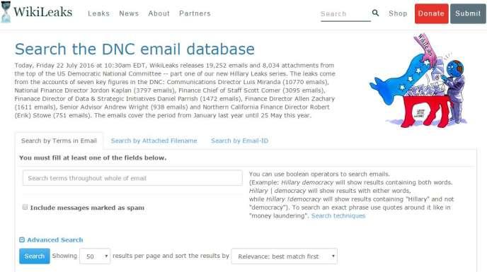 Les courriels du Parti démocrate révélés par le site Wikileaks.