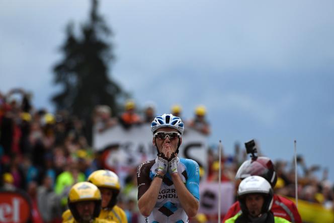 Romain Bardet, vendredi 22 juillet, à l'arrivée de la 19e étape,à Saint-Gervais-les-Bains.