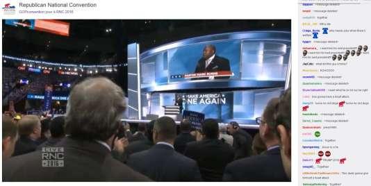 Intervention du pasteur Mark Burns à Cleveland pour la convention républicaine, le 21juillet, retransmise sur la plate-forme Twitch.