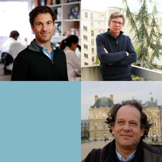 En haut à gauche Hugo Aguilaniu, en haut à droiteJean-Michel Besnier, en basJean Claude Ameisen.