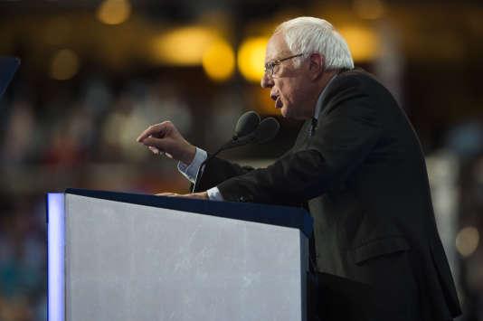 Bernie Sanders, sénateur du Vermont, à la Convention démocrate, à Philadelphie, le 25 juillet.