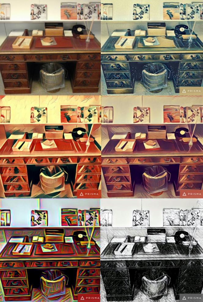 Photographie du bureau du fondateur du «Monde», Hubert Beuve-Méry (en haut à gauche), transformée selon plusieurs thèmes.