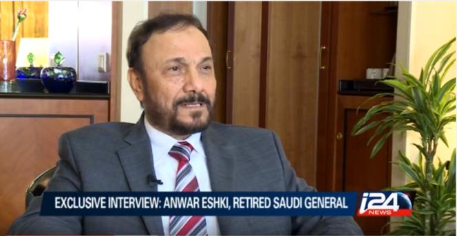 L'ancien général saoudien Anwar Eshki le 9 juillet 2015, sur une vidéo de la chaîne i24.