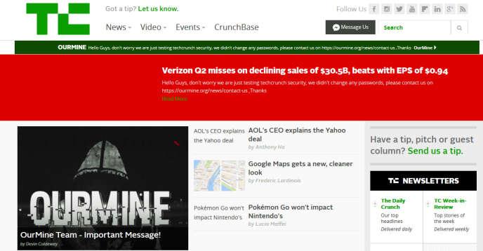 OurMine aurait accédé à la plate-forme de publication de TechCrunch grâce au mot de passe d'un rédacteur.
