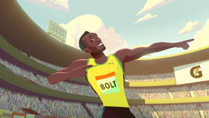 Une image extraite du film d'animation produit par Moonbot studio sur Usain Bolt.(Gatorade/Moonbot via AP)