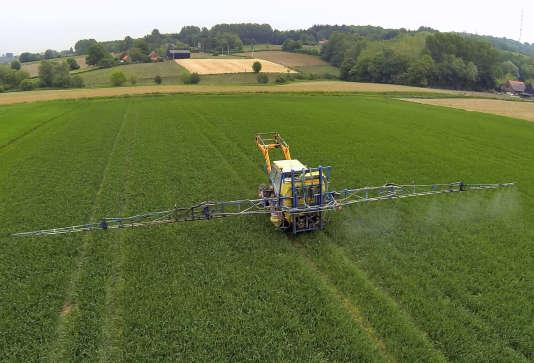 Tracteur arrosant un champ de pesticides