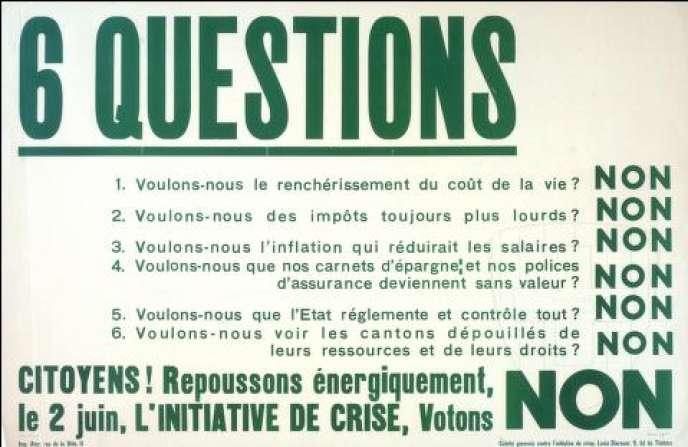 Affiche pour la votation sur l'initiative de crise de 1935.