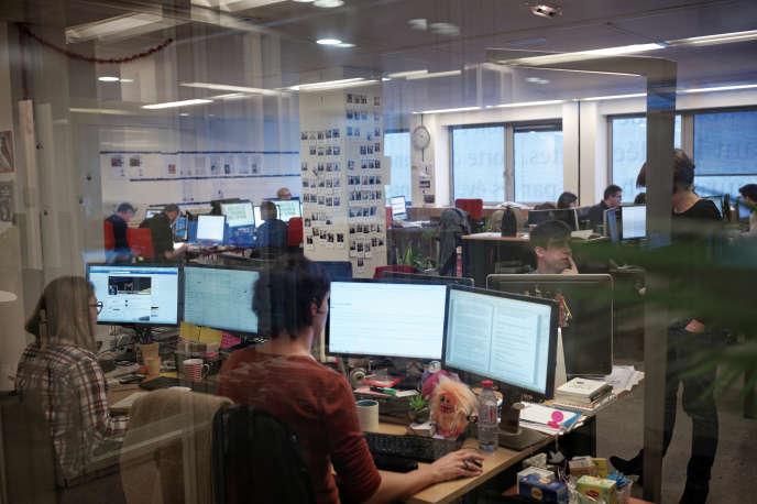 Dans les bureaux du journal« Le Monde», en décembre 2014.