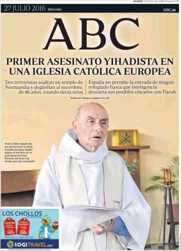 Le journal espagnol «ABC« évoque le« premier assassinat djihadiste dans une église catholique européenne».