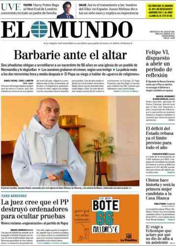 « La barbarie au pied de l'autel» titre le quotidien espagnol« El Mundo».