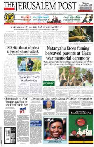 A la « une»du« Jerusalem Post»:« L'Etat islamique attaque une église française et coupe la gorge d'un prêtre».
