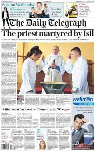 « Un prêtre martyr de l'Etat islamique» à la « une»du britannique« Daily Telegraph».